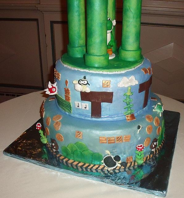 Mario Video Game Theme Wedding Cake bottom tiers view 3