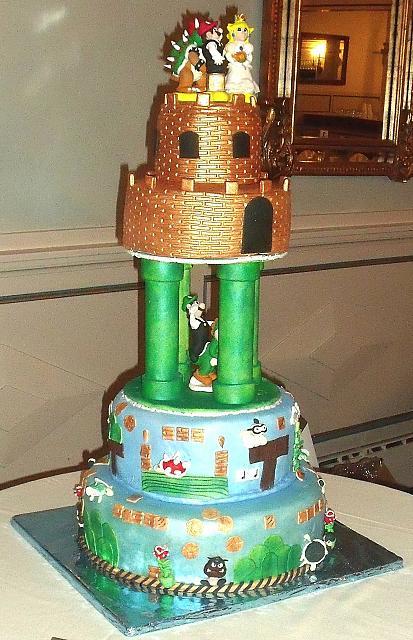 Mario Video Game Theme Wedding Cake main viewVideo Game Wedding Cake