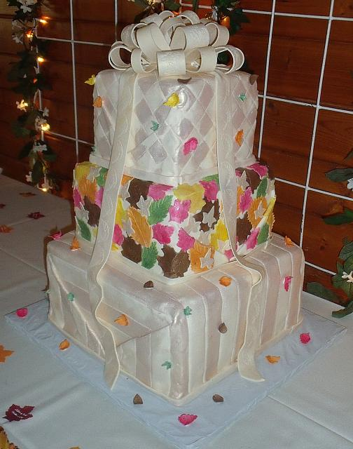 Fall Leaves Stacked Presents Wedding Cake view 2