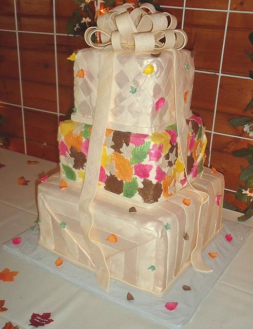 Fall Leaves Stacked Presents Wedding Cake view 3