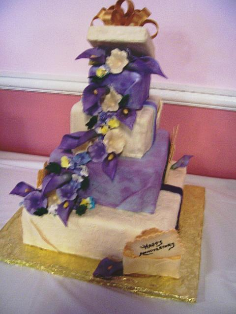 Purple Present Cake with Gumpaste 50th Anniversary Cards - sorry about blurry picture