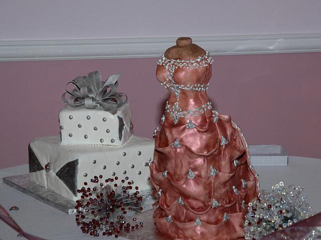 Bridal Dress Cake And Larger Present Cake