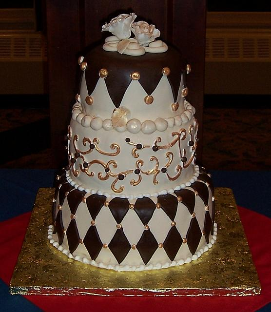 Whimsical three tiered cake for any formal or party occasion