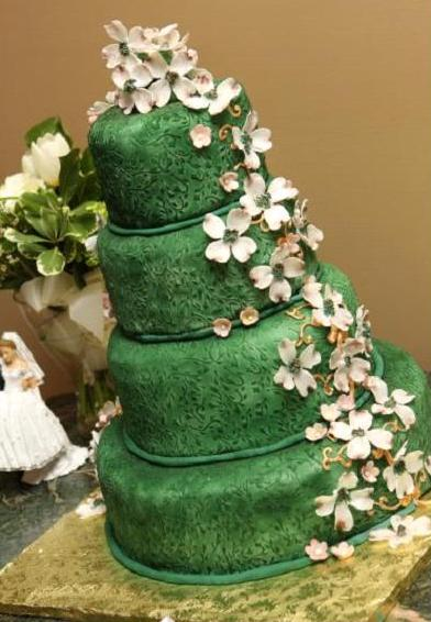 Green Brocade Textured Wedding Cake