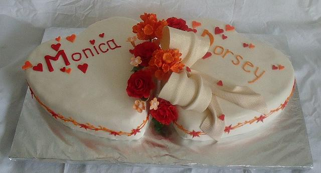 Wedding Cake of Two Hearts,  Red Gumpaste Roses,  Orange Hydrangea Gumpaste Flowers - Main pictures
