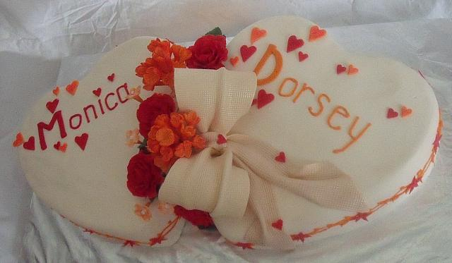 Wedding Cake of Two Hearts,  Red Gumpaste Roses,  Orange Hydrangea Gumpaste Flowers, another view