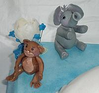 Pregnant Baby Shower close up of Elephant and Monkey