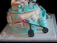 Baby Shower Cake Sides with Edible Books, Clothes, Jogging Stroller