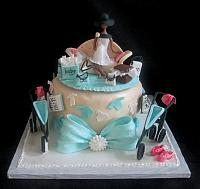 Baby Shower Cake for Jogger and Fashionista with Pregnant Figure, Books, Jogging Stroller Main View