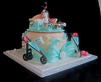 Baby Shower Fashionista Pregnant Mother Jogging Stroller Cake Side View