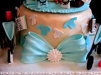 Edible Jeweled Bow On Baby Shower Cake