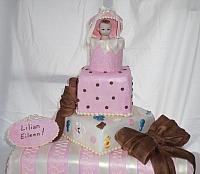 Baby Shower Tiered cake front view