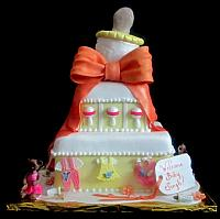 Baby Shower Tiered Cake with Giant Bottle,  Baby Clothes, Baby Rattles, Bears in Tutus Fondant Cake Main