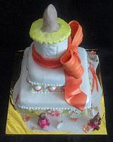 Baby Shower Tiered Cake with Giant Bottle,  Baby Clothes, Baby Rattles, Bears in Tutus Fondant Cake Top View