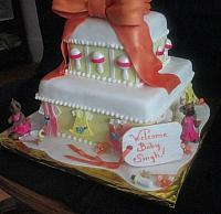 Baby Shower Tiered Cake with Giant Bottle,  Baby Clothes, Baby Rattles, Bears in Tutus Fondant Cake Side View
