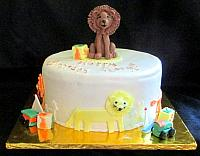 Lion Theme Fondant Cake With Children's Toys