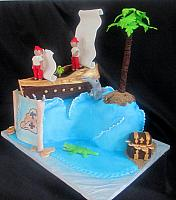 Pirates Children Fondant Cake Side View