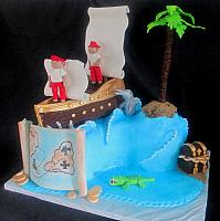 Pirates Theme Childrens Fondant Cake Main
