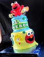 Sesame Street Fondant Cake with Elmo Jumping with Stars, Circles