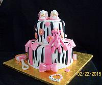 Zebra Striped, Gold and Pink Baby Shower Cake with Edible Shoes, Rattle, Baby Bear