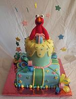 Elmo on Whimsical Colorful Cake