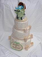 Baby Shower Cake in Ivory with old fashioned or old time carriage showing plaque