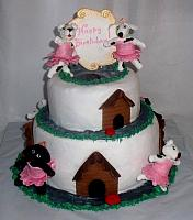 Ballerina Gumpaste Dogs With Doghouses Cake main view