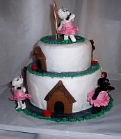 Ballerina Gumpaste Dogs With Doghouses Cake side view