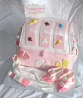 Baby Diaper Bag Cake For Baby Shower With Edible Gumpaste Baby Shoes, Baby Blanket, Baby Decorations Main View