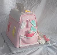 Baby Diaper Bag Cake For Baby Shower With Edible Gumpaste Baby Shoes, Baby Blanket, Baby Decorations Back View