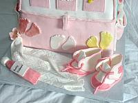 Baby Diaper Bag Cake For Baby Shower With Edible Gumpaste Baby Shoes, Baby Blanket, Baby Decorations Front Close Up