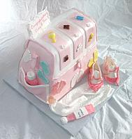 Baby Diaper Bag Cake For Baby Shower With Edible Gumpaste Baby Shoes, Baby Blanket, Baby Decorations Top Angle