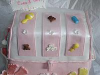 Baby Diaper Bag Cake For Baby Shower With Edible Gumpaste Baby Shoes, Baby Blanket, Baby Decorations Top Close Up