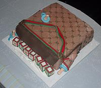 Gucci Baby Diaper Bag Cake for Baby Shower top view