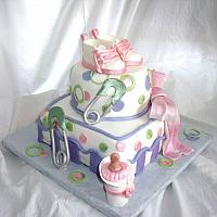 Whimsical Baby Shower Cake in Pink, Green, and Purple with Edible Gumpaste baby Shoes, Baby Bottle, and Safety Pins view 2