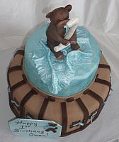 Blue and Brown Teddy Bear Themed Baby Shower Cake designed by Kate Nearpass view 2