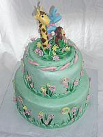 Safari or Zoo Themed Green, Pink, and Yellow Baby Shower Cake with edible Giraffe, Monkey, and Circus Elephant view 2