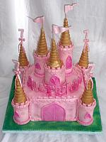 Pink Castle Cake For Girl with Gold and Pink Turrets
