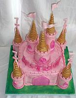 Pink Castle Cake and with Pink and Gold Turrets top view