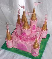 Pink Castle Cake and with Pink and Gold Turrets view 2