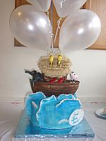 Noah's Ark Cake on Ocean with Waves