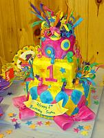 Whimsical Mardi Gras First Birthday Cake view 1