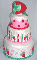 Strawberry Shortcake Theme Tiered Cake