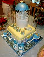 Baby Shower Cake For Boy with Umbrella, Baby Blocks, Baby Rattles, Baby Sneakers, Baby Sleeping, Large Bow