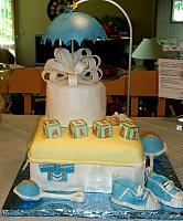 Baby Shower Cake For Boy with Sneakers, Baby Rattle, Umbrella, Baby Blocks, Baby Sleeping side 2