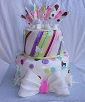 Whimsical Baby Shower Cake with Butterflies, Stripes, Dots, Bows
