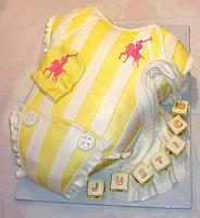 Baby Onesie Yellow White Polo Baby Shower Fondant Cake main view