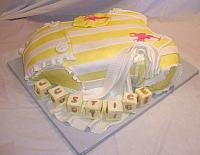 Baby Onesie Yellow White Polo Baby Shower Fondant Cake side view
