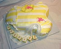 Baby Onesie Yellow White Polo Baby Shower Fondant Cake view 1