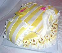 Baby Onesie Yellow White Polo Baby Shower Fondant Cake view 2